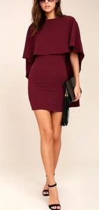 NWT Lulus Best Is Yet To Come Burgundy Cape Dress